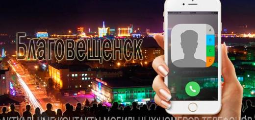 База мобильных телефонов города Благовещенска
