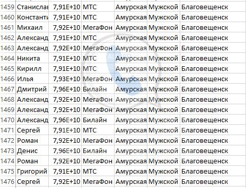 База мобильных номеров телефонов города Благовещенска