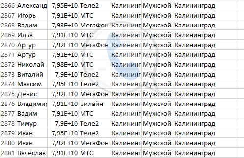 База мобильных номеров телефонов города Калининграда