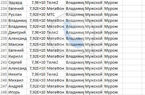 База мобильных номеров телефонов города Мурома