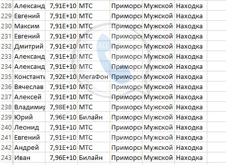 База мобильных номеров телефонов города Находки