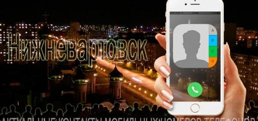 База мобильных телефонов города Нижневартовска
