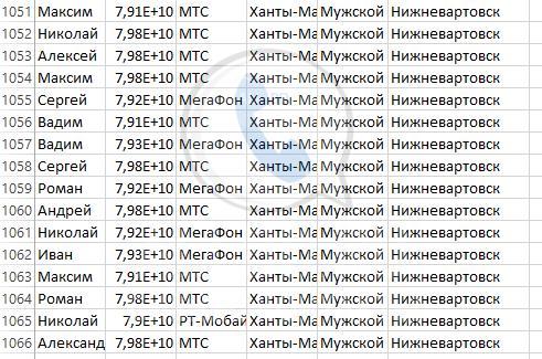 База мобильных номеров телефонов города Нижневартовска