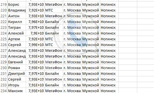 База мобильных номеров телефонов города Ногинска