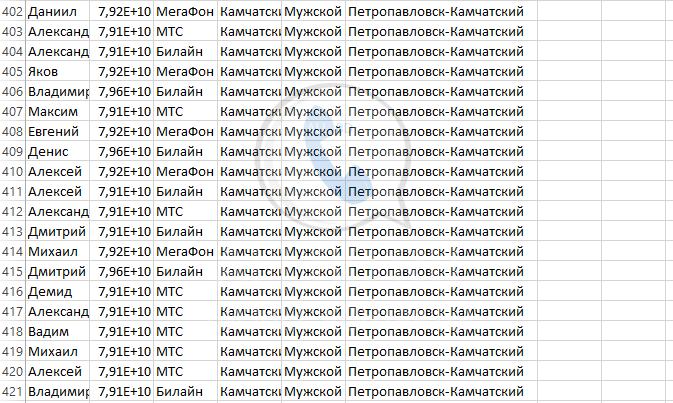 База мобильных номеров телефонов города Петропавловска-Камчатского