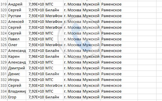 База мобильных номеров телефонов города Раменское