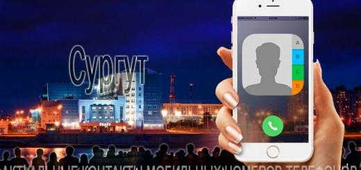 База мобильных телефонов города Сургута