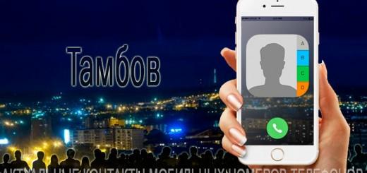 База мобильных телефонов города Тамбова
