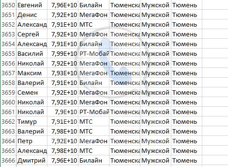 База мобильных номеров телефонов города Тюмени