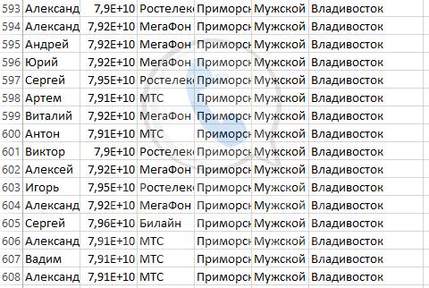 База мобильных номеров телефонов города Владивостока